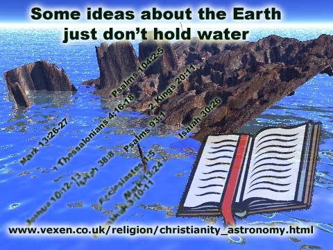 Humurous picture of a flat earth sinking into the ocean, with the horizon clearly showing, and bible verses becoming submerged alongside the land
