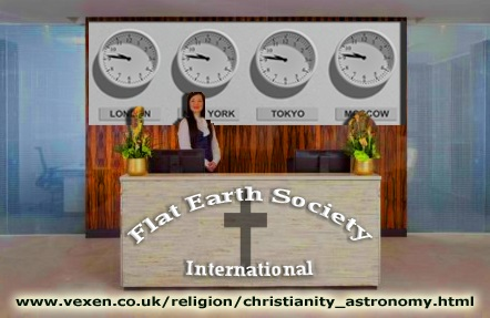 Flat Earth Society International - all of the wall clocks across the world have exactly the same time